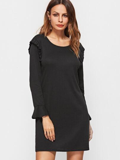 Black Bell Sleeve Ruffle Trim Dress