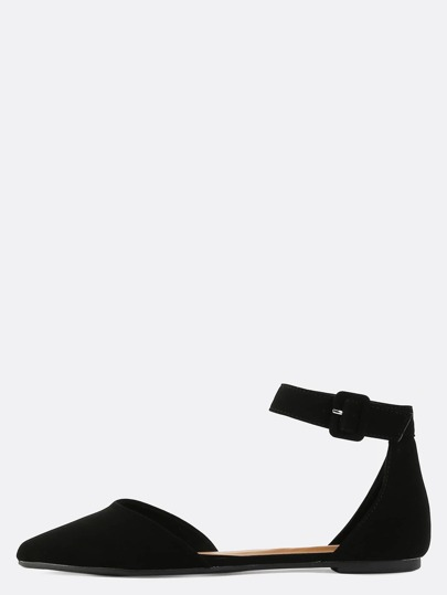 Classic Pointed Square Buckle Flats BLACK