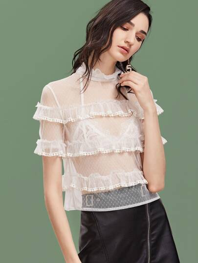 Dobby Mesh Sheer Frill Tiered Top