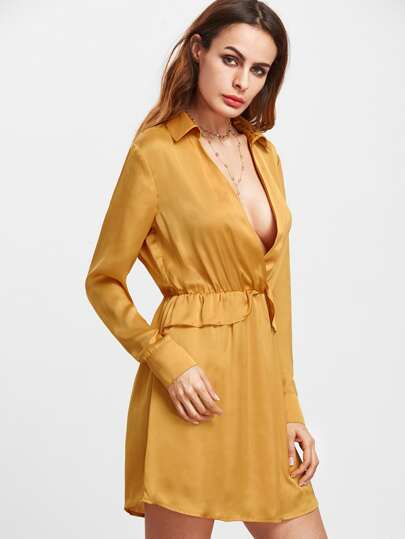 Mustard Collared Plunge Neck Long Sleeve Shirt Dress