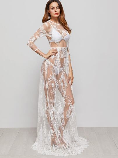 White Flower Embroidered Sheer Mesh Maxi Dress