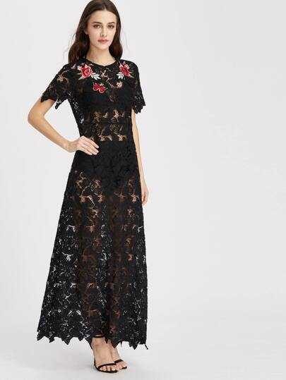 Black Embroidered Rose Applique Floral Lace Dress