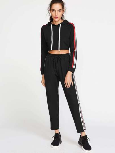 Black Side Striped Drawstring Waist Sweatpants