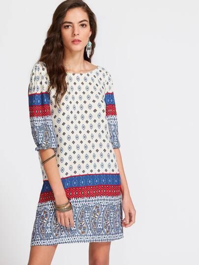 Многоцветное модное платье с принтом и V-образным вырезом, рукав 1/2