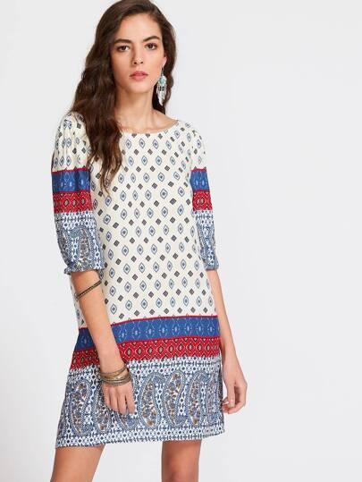 Paisley Print V Back Elbow Sleeve Dress