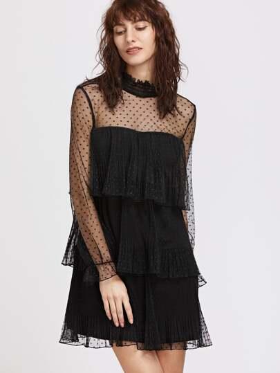 Vestido de malla a capas con lunares - negro