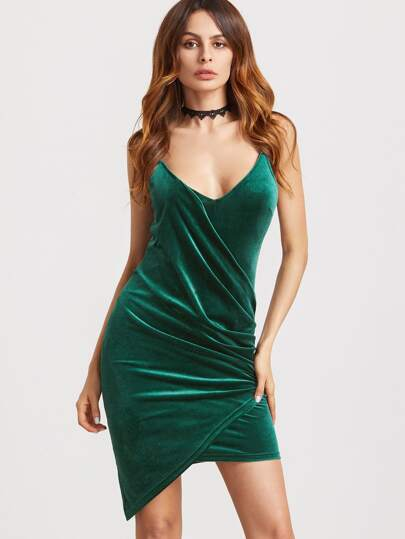 Dark Green Ruched Draped Velvet Cami Dress