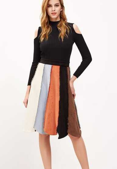 Color Block Chevron Seam Suede Paneled Skirt