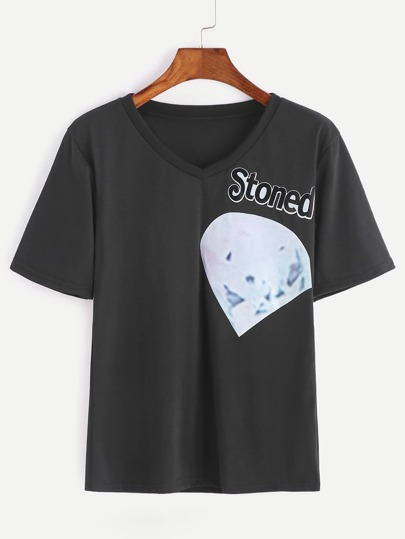 T-shirt noir à manches courtes imprimé