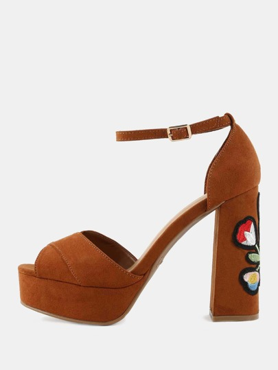 Platform Floral Embroidered Heels CHESTNUT