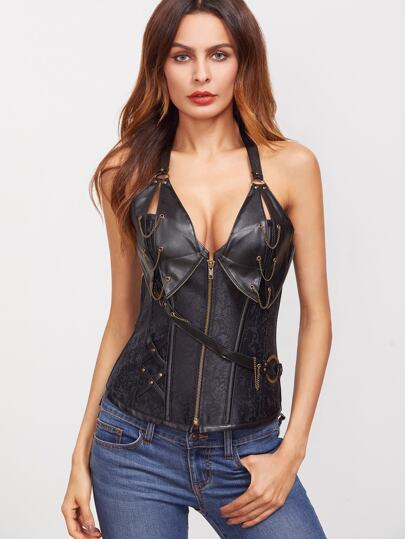 Black Chain Detail PU Halter Corset With Briefs