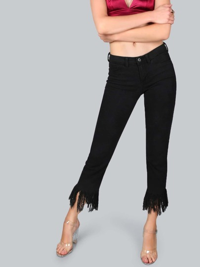 Mid Rise Straight Frayed Pants BLACK