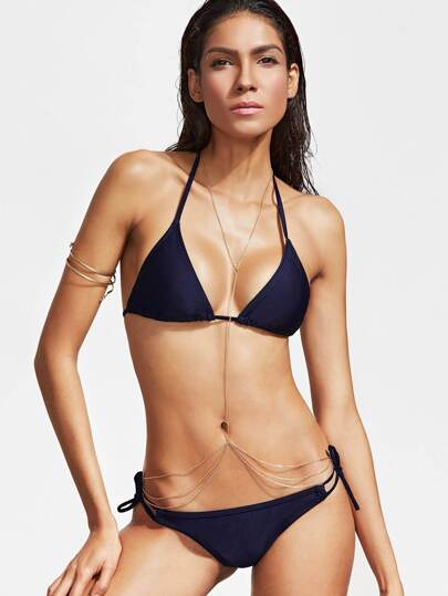 Halterneck Side Tie Bikini Set