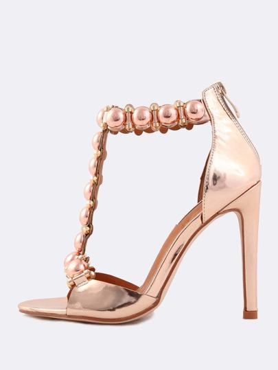 Metallic Beaded Stiletto Heels ROSE GOLD