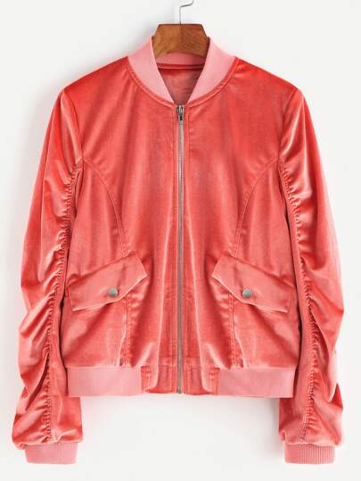 Zip Up Shirred Velvet Bomber Jacket