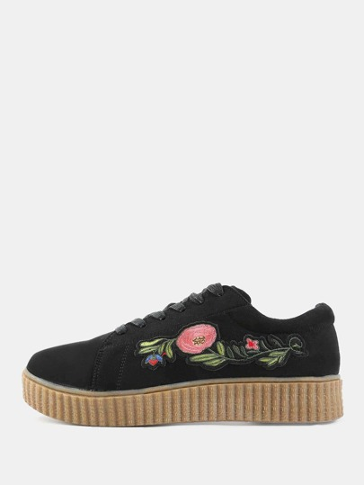 Faux Suede Floral Embroidered Sneakers BLACK