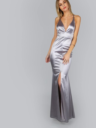 Cross Back Satin Slit Maxi Gown SILVER