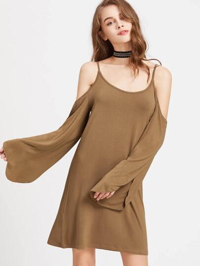 Camel Cold Shoulder Split Sleeve Dress