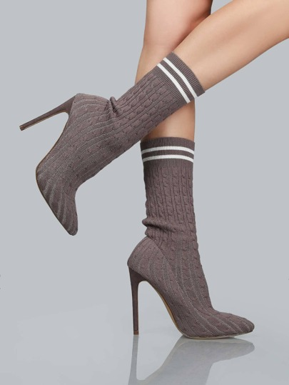 Knit Pointy Toe Pump Ankle Booties GREY