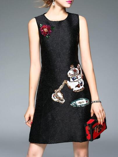 Black Sequined Disc Flowers Shift Dress