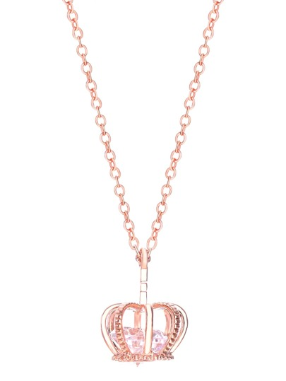 Rose Gold Crown Shaped Pendant Necklace