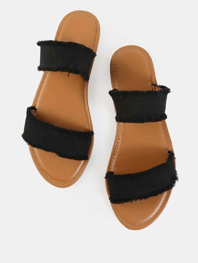 Frayed Canvas Duo Strap Sandals BLACK