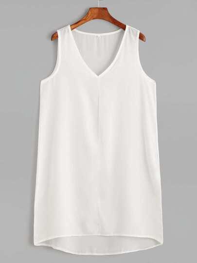 White V Neck High Low Tank Dress