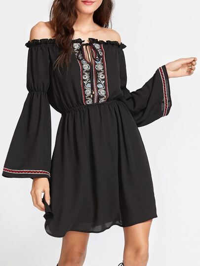 Black Tied Off The Shoulder Bell Sleeve Embroidered Dress