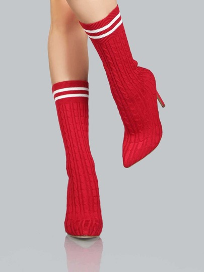 Duo Stripe Knitted Pump Booties RED