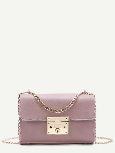 Pink Push Lock Structured Chain Bag