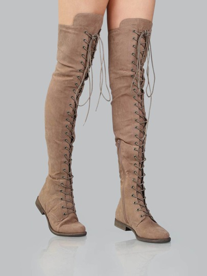 Lace Up Flat Suede Boots TAUPE