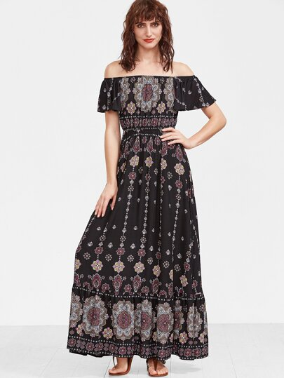 Imprimé fleur noir de l'épaule Ruffle manches et robe Hem
