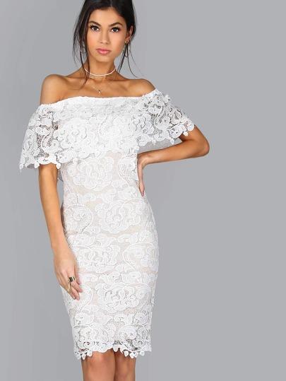 Floral Lace Bardot Bodycon Dress WHITE