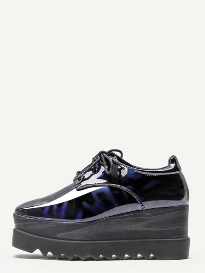 Blue Patent Leather Wedge Flatform Derby Shoes