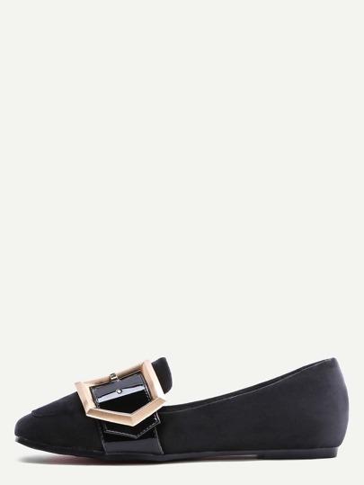 Schwarze Samt-Quadrat-Zehe-Wölbungs-Loafer-Ebenen
