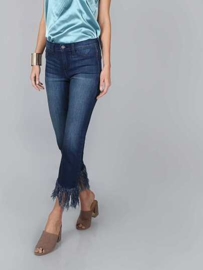 Straight Mid Rise Frayed Jeans DENIM
