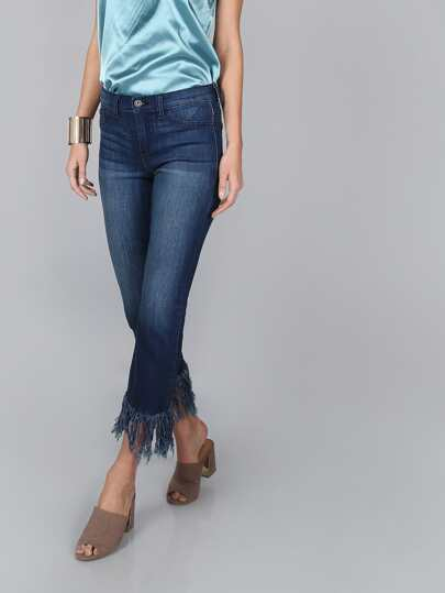 Straight Mid Rise Frayed Jeans DENIM