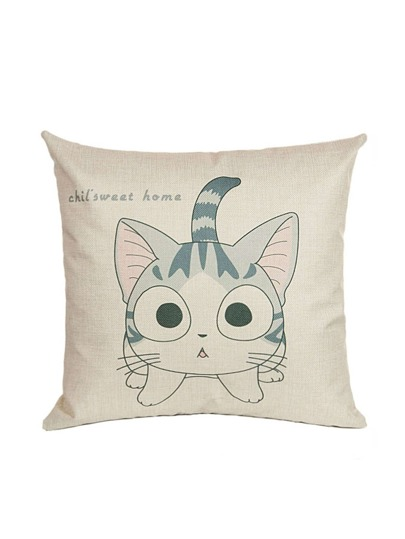 Apricot Cat Print Pillowcase Cover