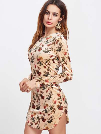Apricot Floral Print Curved Hem Bodycon Dress