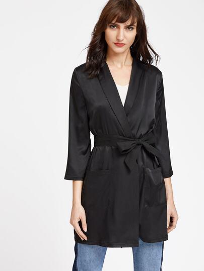 Kimono con cuello esmoquin de manga 3/4 - negro