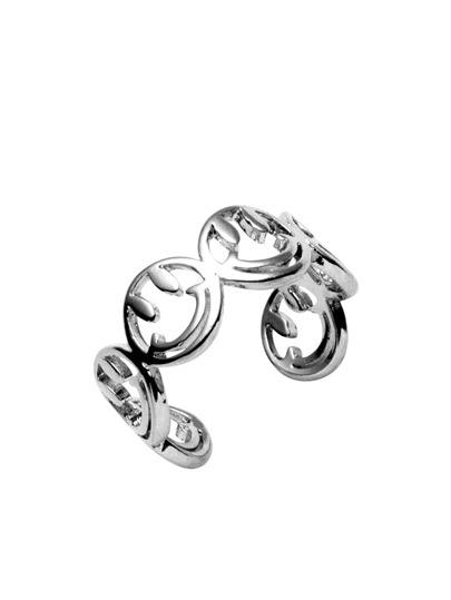 Silver Tone Smiling Face Open Ring