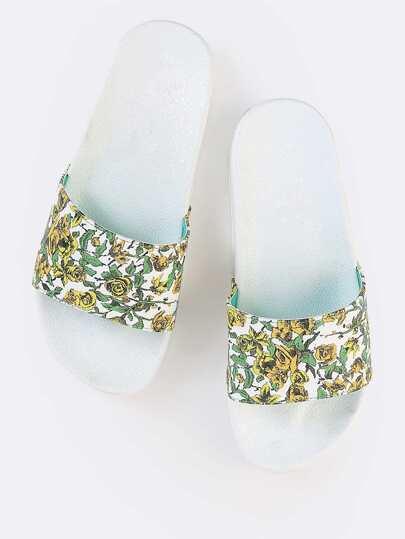 Open Toe Floral Slide Sandals GREEN