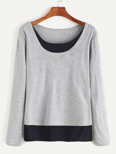 Camiseta con cuello redondo ribete en contraste - gris