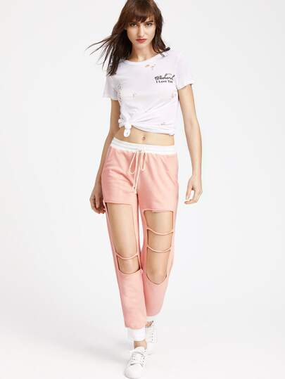 Pink Contrast Trim Knee Ripped Sweatpants