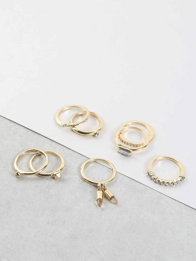 Dangling Crystal Metallic Ring Set GOLD