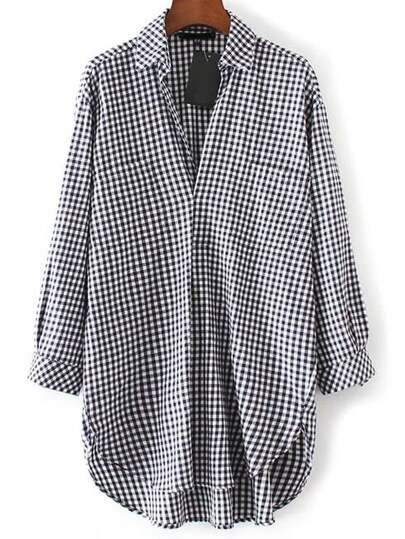 Black And White Plaid High Low Blouse With Pocket