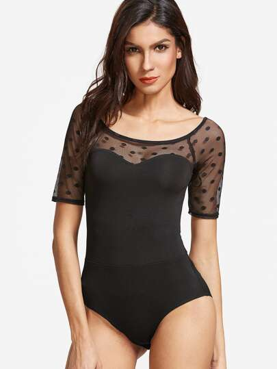 Dotted Mesh Paneled Sweetheart Bodysuit