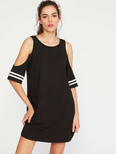 Open Shoulder Striped Sleeve Tee Dress