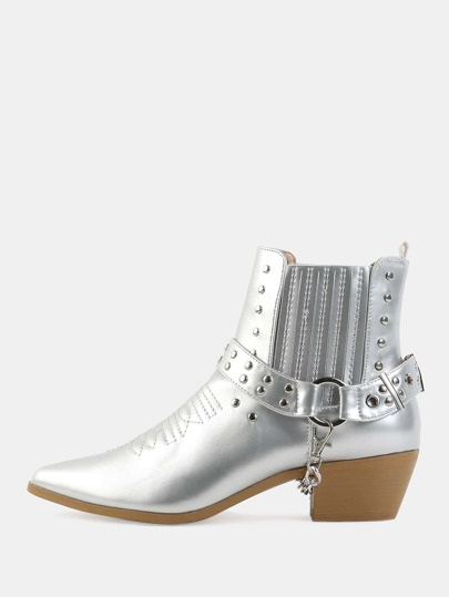 Metallic Studded Cowboy Boots SILVER