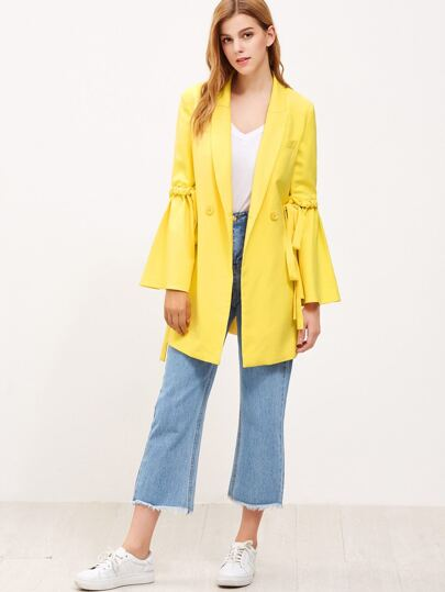 Yellow Drawstring Bell Sleeve Double Breasted Coat